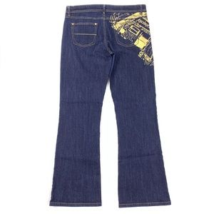 Southpole Jeans Gold Print Boot 34x32 Dark Wash